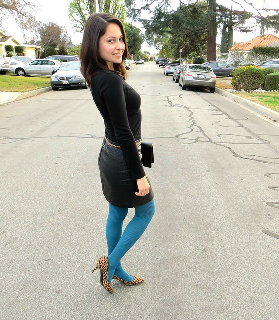 leather skirt and teal tights 7