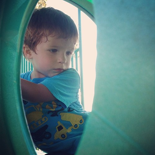 Thankful he is brave enough to do the tunnels and slides at the playground by himself these days.  #preggolife