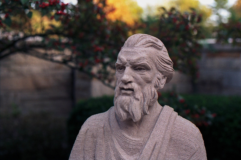 Serious statue