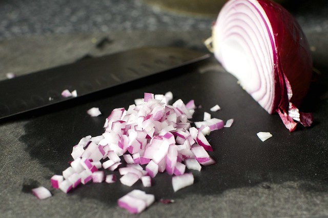 mince that: red onion, but you should use white