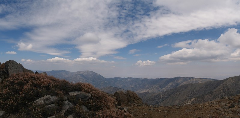 Panorama view of Mount Baden-Powell, the Blue Ridge, and Pine Mountain Ridge from the summit of West Baldy