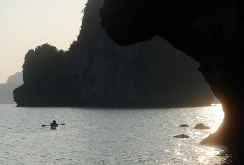 Kayaking into a Halong Bay Sunset