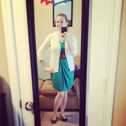 Comfy turquoise-teal dress #ootd to see Bill off on Senior retreat. Shoes: Payless; everything else: Target.