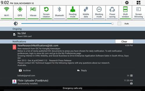 Notification bar ของ Samsung Galaxy Note 10.1 2014 Edition
