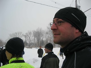 Dan at the starting line wearing his new hat (we got very good hats and gloves for running the Hypo Half)
