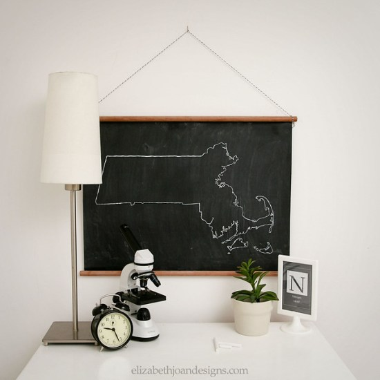 Vintage Inspired Chalk Cloth Map 1