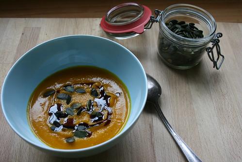 Triple pumpkin soup by the james kitchen