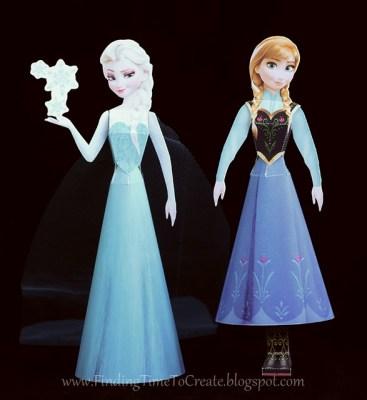 Elsa and Anna 3D Paper Dolls