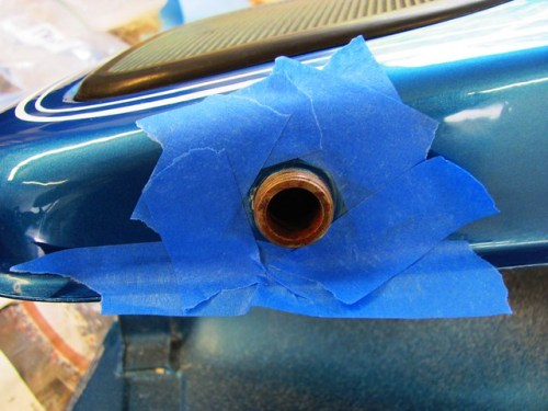 Masking Gas Tank Petcock Spigot for Epoxy
