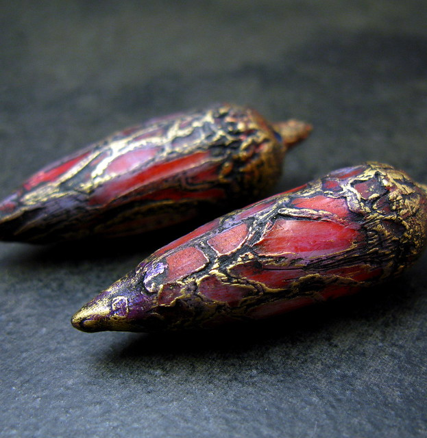 Another view of red and gold pods