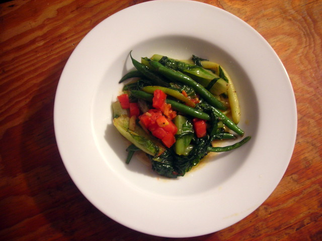 String beans, escarole, heirloom tomato