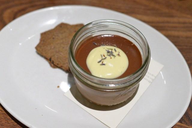 Chocolate Pot de Crème Lavender Crème Anglaise and Buckwheat Cacao Nib Cookies