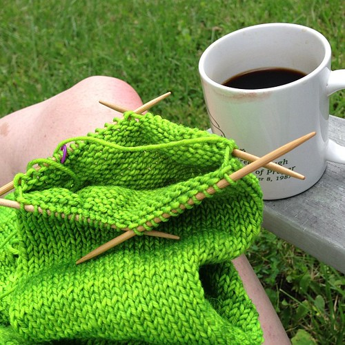 Stuck on sleeve island, but at least there are copious amounts of coffee here #knitting #coffee #limegreen #summer #sweater #crafting