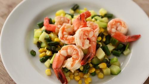 poached_shrimp_succotash