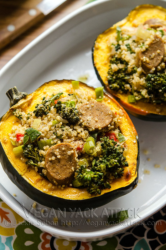 This simple and savory Quinoa-Stuffed Acorn Squash is easy-to-make and filled with nutritious ingredients!