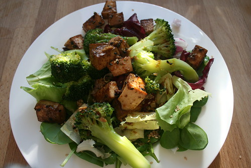 marinated tofu & salad by the james kitchen