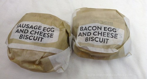 Jack in the Box Southern Style Biscuits (Bacon, Egg & Cheese and Sausage, Egg & Cheese)