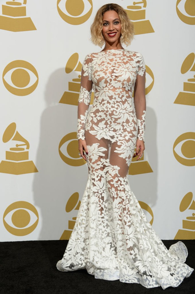 Beyonce In White Michael Costello Gown Grammys 2014