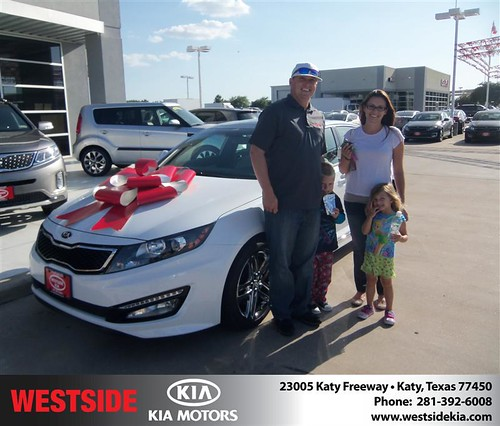 Thank you to Christopher Crow on the 2013 Kia Optima from Jorge Fernandez and everyone at Westside Kia! by Westside KIA
