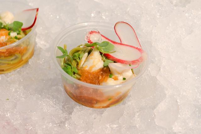 M.B. Post cha soba and blue crab with shiso, radish, ginger-apple ponzu