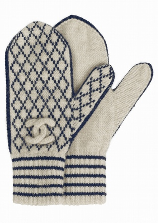 Chanel藍白格紋喀什米爾編織手套.PNG
