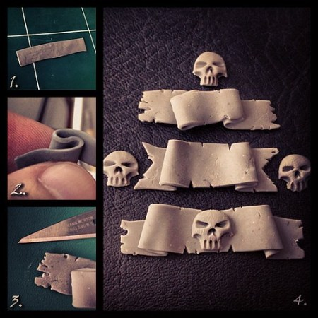 "How to quickly make little clay banners. 1. Make a thin strip of polymer clay (SuperSculpey, Fimo...). You can use a roll or a bottle to do so. 2. Give both sides a sort of ""S"" shaped wave. 3. Tear the edges to give the ""paper"" a worn look. 4. Now you hav"