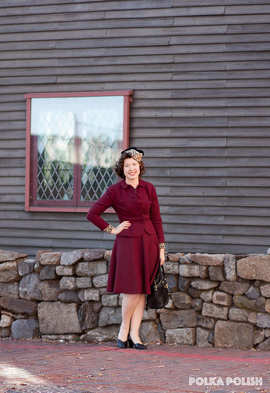 Vintage 1940s burgundy suit paired with leopard print and black