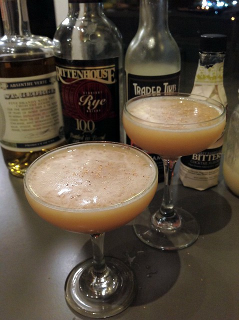 Winter Diamondback: rye, lemon juice, homemade orgeat, cinnamon syrup, bitters, egg white, absinthe rinse, nutmeg