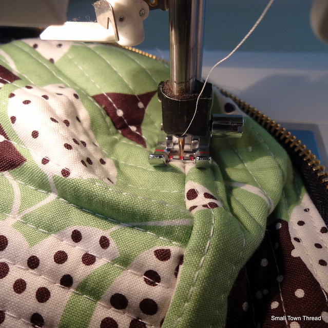 Stitching tacks to keep corners in place