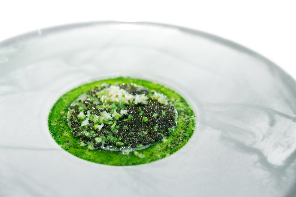 Haddock with parsley stems & Finnish Kaviar in buttermilk, crispy fish scales atop at Geranium, Copenhagen