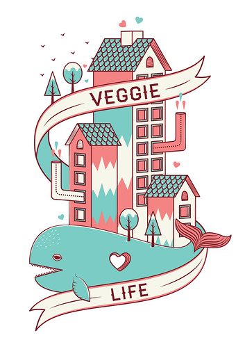 Estampa desenvolvida para o projeto Arte+VEGetariANISMO da Veggie LIFE Store de São Paulo.