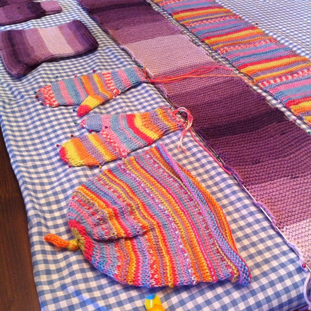 I'm blockin' here!!!  Love my blocking wires! #knit #mittens #scarf #hat.