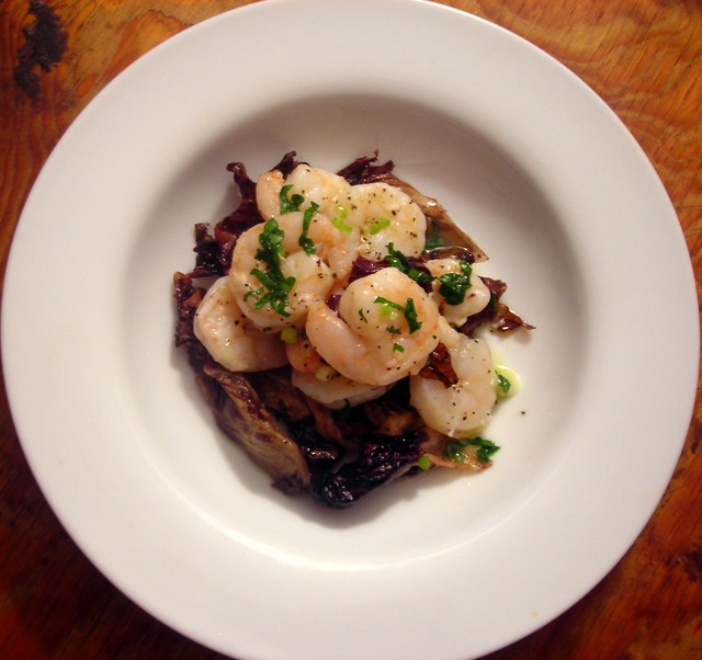 Roasted shrimp and radicchio salad, with Meyer lemon-scallion vinaigrette