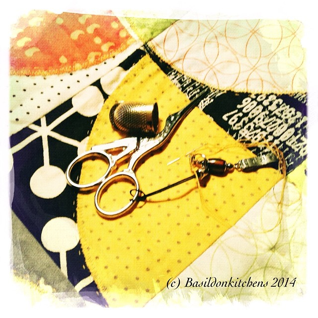 14/1/2014 - 3 things {needle with thread, thimble & my favourite stork scissors} #fmsphotoaday #3things #needle #thread #thimble #scissors #quilting #handquilting