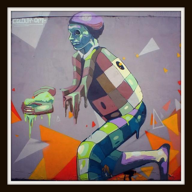 Colour Doomed street art on Elm Street, Cardiff