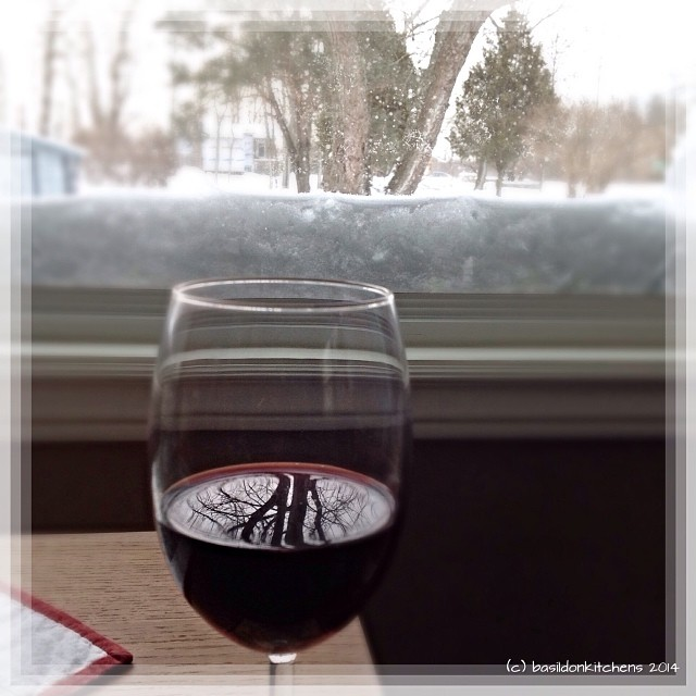 24/1/2014 - my space {currently it's with a glass of wine watching the latest blizzard out my window} It's good to be home; safe & warm!  #fmsphotoaday #myspace #winter #weather #wine #window #reflection