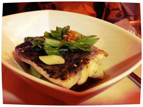 Barramundi fillet w bok choy, ginger soy by Chef Luke Mangan