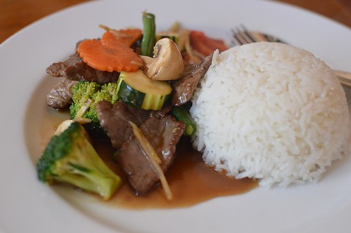 Stir fried beef with ginger & shallot