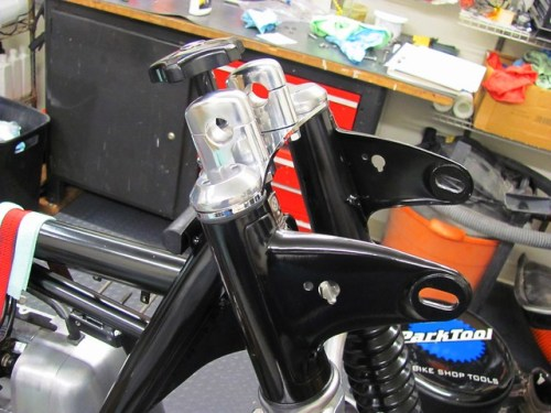 Finished Upper Fork Brace with Damper and Handlebar Mounts