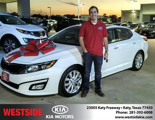 Thank you to Justin Boggs on your new 2014 #Kia #Optima from Gil Guzman and everyone at Westside Kia! #NewCarSmell by Westside KIA