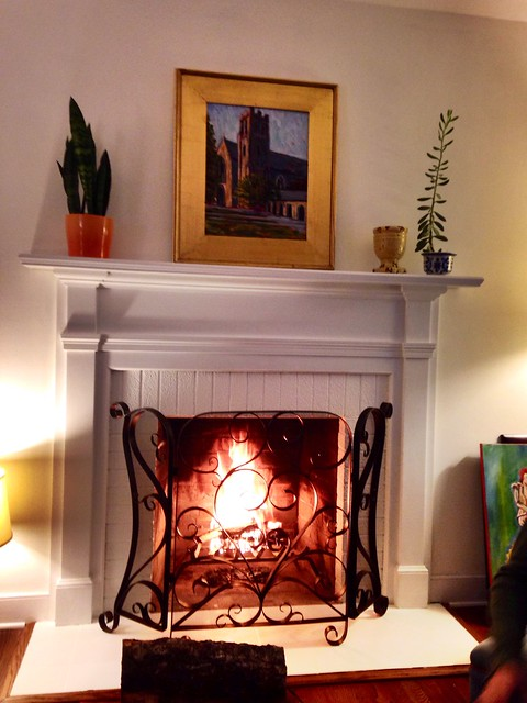 First fire in the fireplace