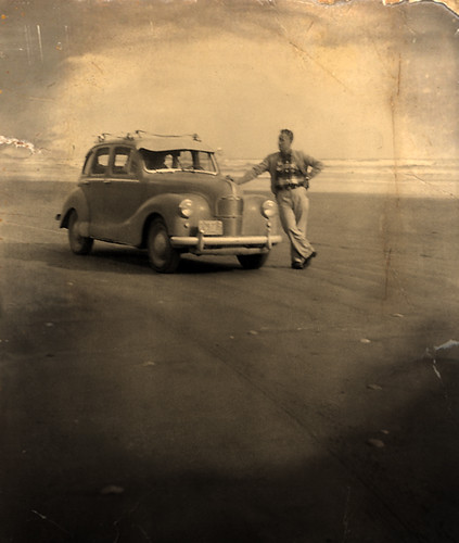 1959: Dad with our car parked on Long Beach