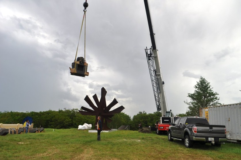 "Instalation of""Keel"" at the Peace River Botanical & Sculpture Gardens in Punta Gorda, Fla., June 2014."