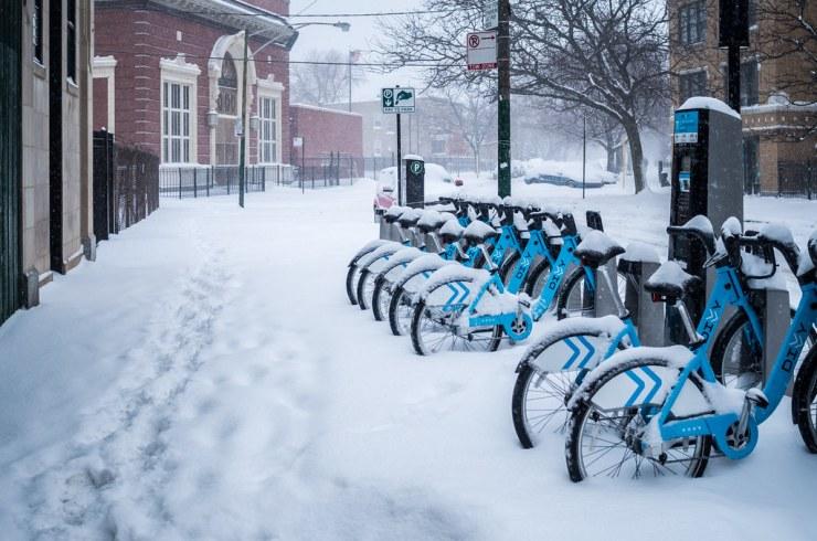 Snowy Divvy Bikes