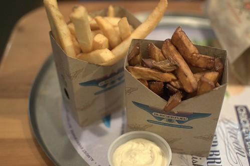 Spud fries, kumara fries & aioli