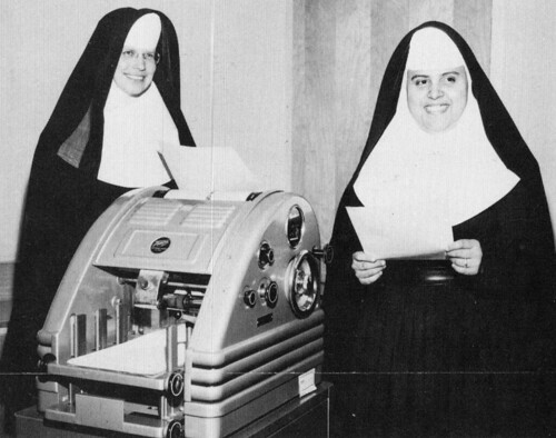 Bishop Conaty girls High School Los Angeles,  Sisters of Mercy at mimeograph machine making copies 1964