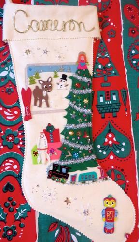 Vintage-style custom stocking detail