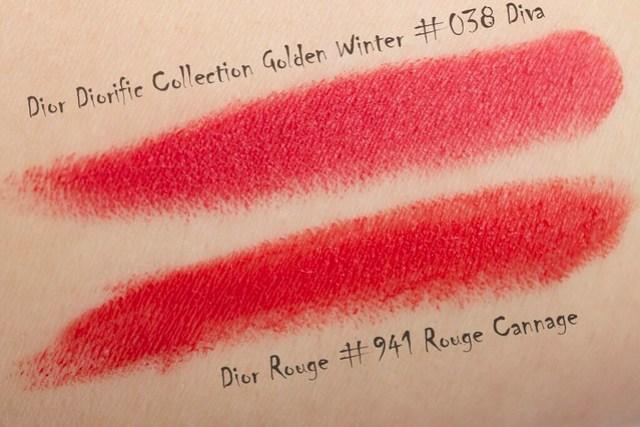 09 Dior Diorific Golden Winter Collection #038 Diva comparison Dior Rouge #941 Rouge Cannage copy