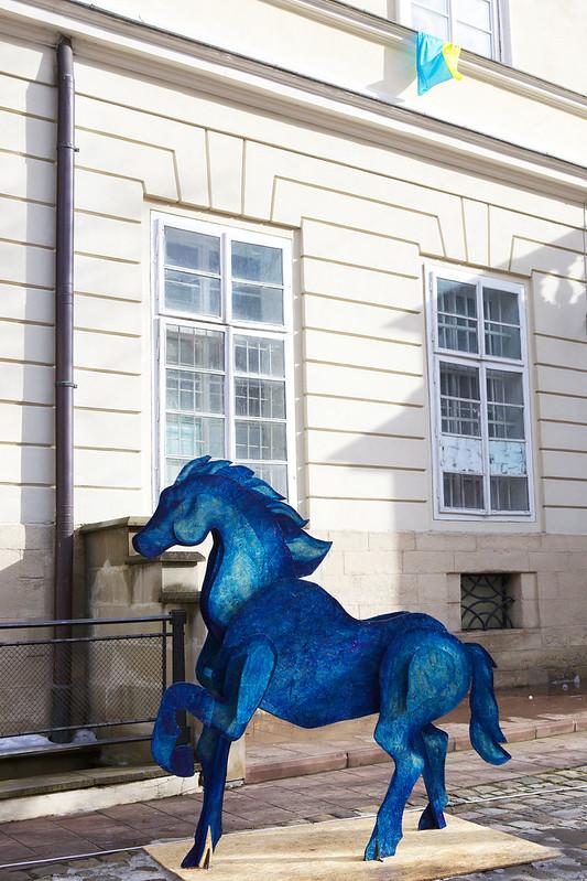 Blue horse. Downtown, Lviv, Ukraine