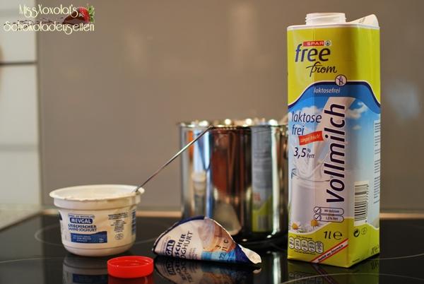 Zutaten für selbstgemachtes Joghurt
